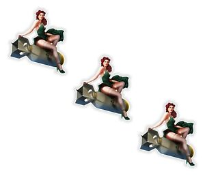 Pin-Up-Girl-3x-Stickers-Vintage-Sexy-07-4-5x5cm-1-7-x-2inches-US-Army-Bomb