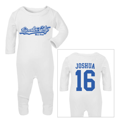 LEICESTER CITY Football Personalised Baby Sleep Suit