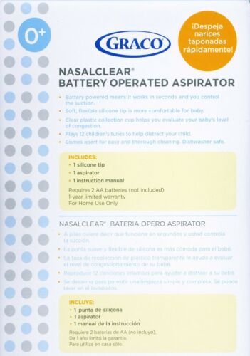 Graco NasalClear Battery-Operated NASAL ASPIRATOR Baby Nose Cleaner Health Care