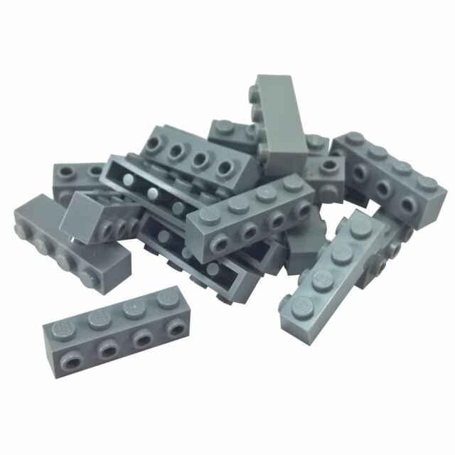 LEGO PART 30414 LIGHT BLUISH GREY BRICK MODIFIED 1 X 4 WITH 4 STUDS X 5 PCS