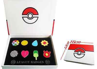 Pokemon Kanto 8 Metal League Gym Badge Pin Pip Gen 1 Cosplay Prop Collection Set