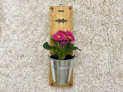 Handmade Rustic Planter Plant Holder Wall Art Flower Wood Rope Bronze Bucket Ebay