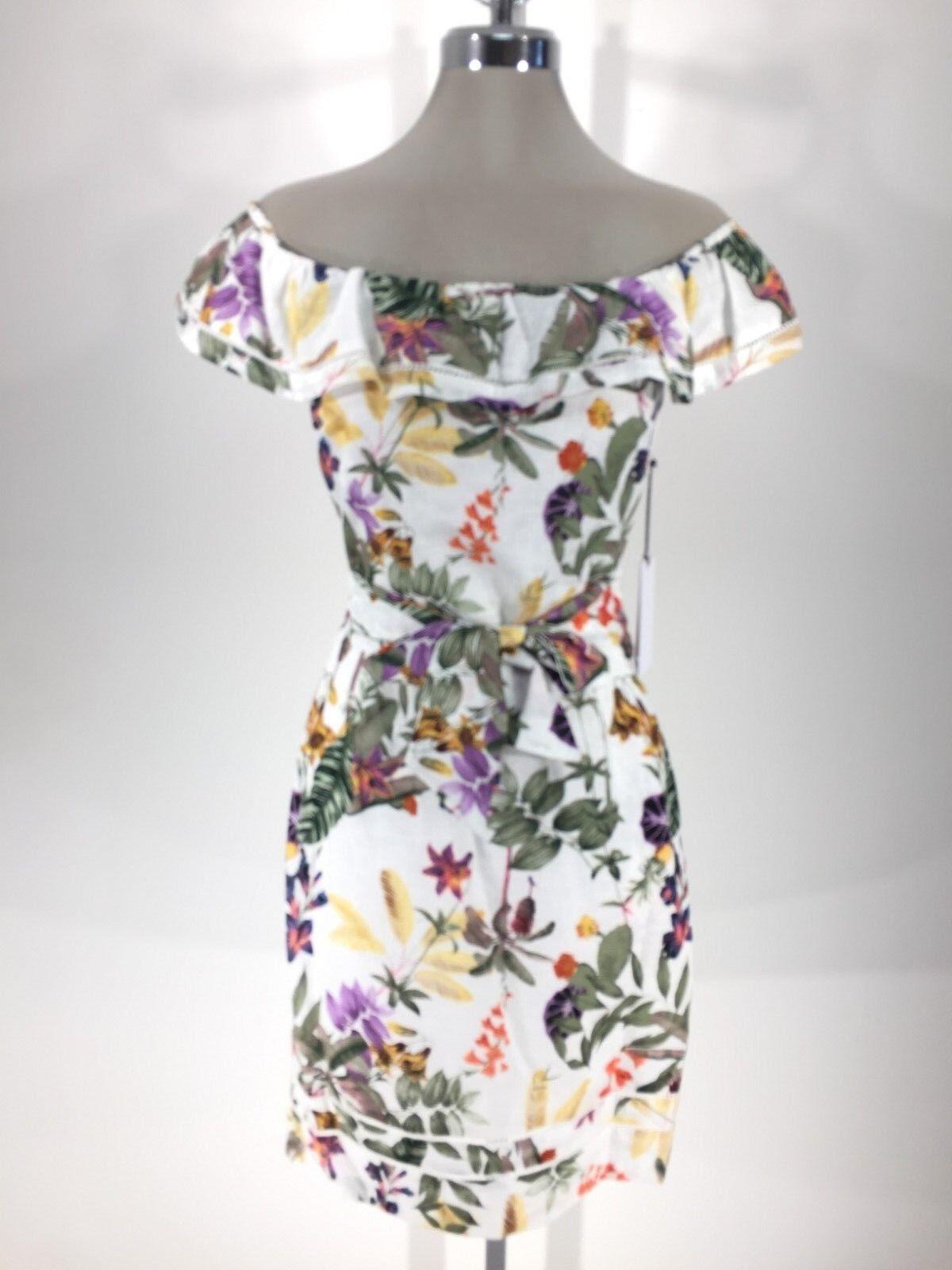 Ivanka Trump NWT Modern off WHITE Cotton floral off-shoulder Women Dress 2,8,10