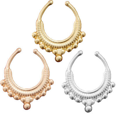 1pc Beaded Tribal Collar Non-Piercing Body Jewelry Septum Clip-On Fake Nose Ring