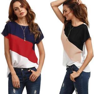 Women-039-s-Color-Block-Chiffon-O-Neck-Short-Sleeve-Casual-Blouse-Shirts-Tunic-Tops