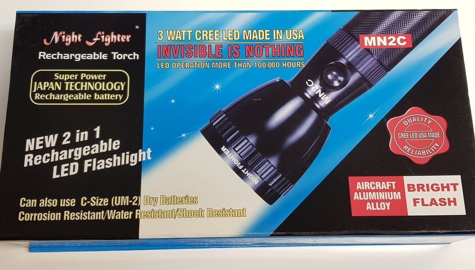 Night Fighter USA Made DEL CREE haute puissance Slim Slim Slim Torche Rechargeable Rechargeble 55025d