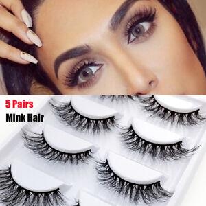 2aeddbcf019 SKONHED 5 Pairs 3D 100% Real Mink Hair False Eyelashes Wispy Fluffy ...