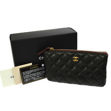 Auth CHANEL Quilted CC Cosmetic Vanity Pouch Bag Black Leather Italy NR09515