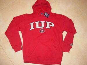 Vtg HEAVY Indiana University of Pennsylvania Crimson Hawks Hooded Sweatshirt XL
