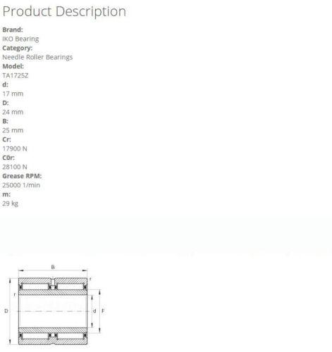 IKO TA1725Z Needle Roller Bearings 24x17x25mm