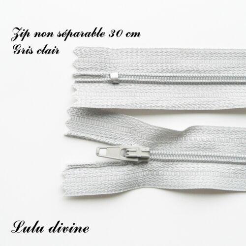 Couleur Gris clair Zip// Fermeture éclair simple non séparable de 30 cm