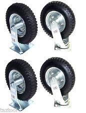 4pcs 8 Air Tire Caster Wheel 2 Rigid 2 Swivel Pneumatic Hand Truck Dolly Heavy