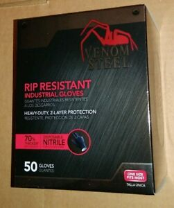 Venom Steel Nitrile Gloves 2nd-Layer / Rip Resistant Black Industrial 50 Box-New