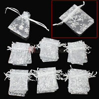 50 Pcs Organza Wedding Party Candy Chocolate Gift Christmas Snowflaker Pouch Bag