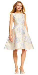 Adrianna Papell Floral Mikado Jacquard Print Midi Dress