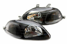 96-98 Honda Civic EK JDM Black Headlights Clear Reflector Hatch Back Coupe Sedan