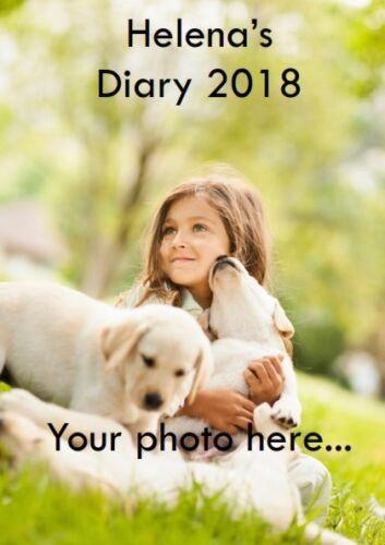 Votre photo Softback Imprimé PERSONALISE Diary 2018 toute Date Nom A5 Semaine à la page