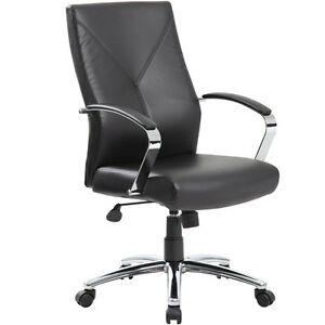 MODERN EXECUTIVE LEATHER CONFERENCE CHAIR Black Or Grey Meeting Boardroom Off