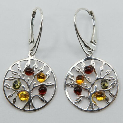Details about  /Genuine Multi-Color BALTIC AMBER Tree of Life Earrings 925 STERLING SILVER #2686