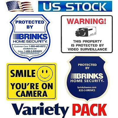 Home Security Alarm Sticker signs For Windows Door Brinks ADT Ring Camera In Use