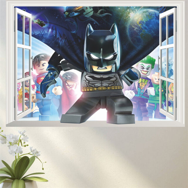 lego batman wall stickers 3d decal mural art cartoon wallpaper decor