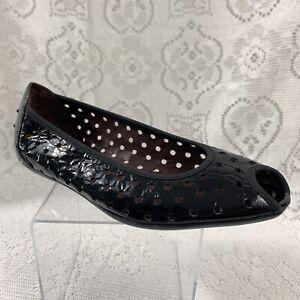 46f91af946 Donald J Pliner Women's Perforated Peep Toe Black Patent Ballet ...
