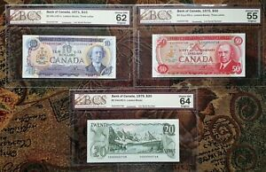 1971-1979-Bank-of-Canada-10-20-amp-50-Rare-Set-of-Matching-Low-Serial-768