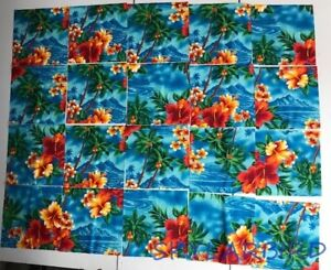 OOP-HTF-Hilo-Hattie-7-034-x-7-034-Hawn-Orange-on-Blue-Fabric-Squares-20-squares