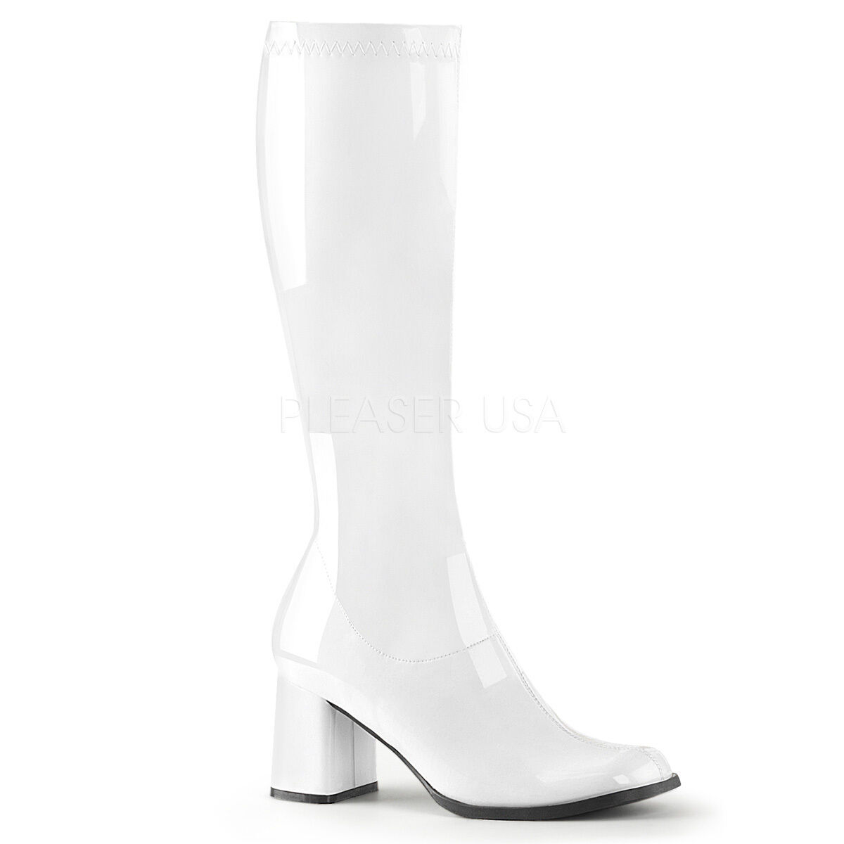 Zapatos especiales con descuento PLEASER FUNTASMA GOGO-300 WHITE PATENT 70'S DISCO KNEE HIGH RETRO BOOTS