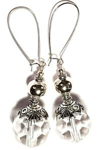 Large-Silver-Earrings-Clear-Faceted-Glass-Bead-Tibetan-Vintage-Style-Drop-Dangle