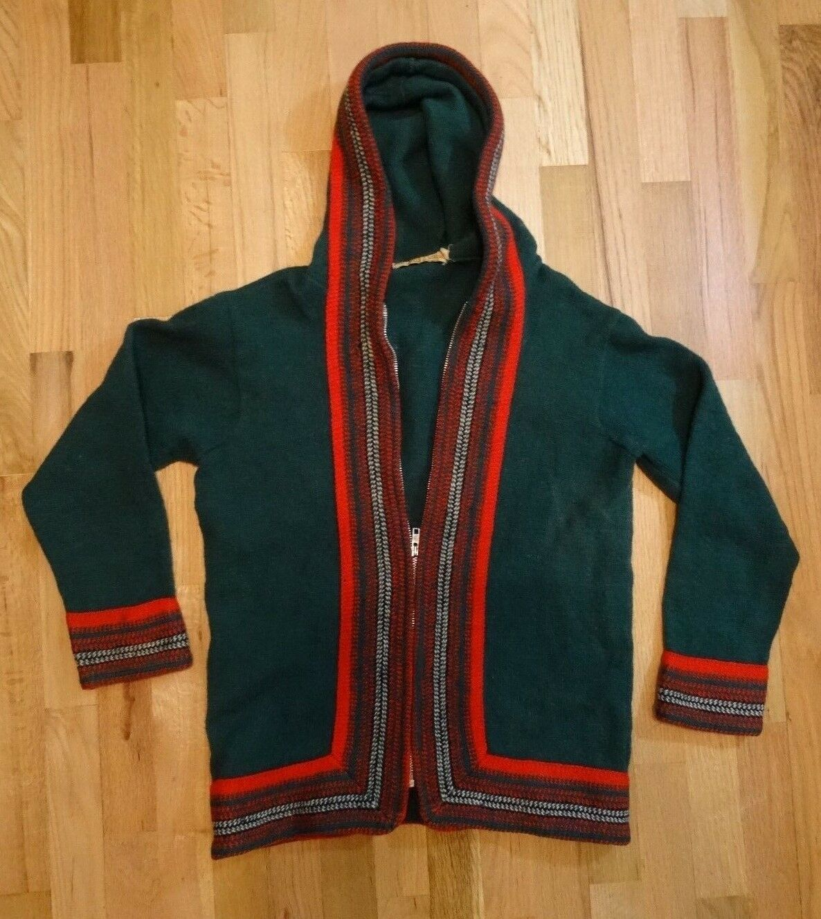 (MJS) Vintage Robert Mackie of Scotland Wool Hooded Sweater, Green & Red, Size M