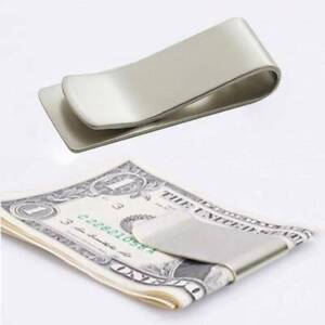 Slim Clip Double Sided Money Clip Credit Card Holder Wallet New Stainless Steel