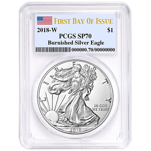 2018-W-BURNISHED-SATIN-SILVER-EAGLE-PCGS-SP70-FIRST-DAY-OF-ISSUE-THE-NEW-KING