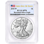 2018-W-BURNISHED-SATIN-SILVER-EAGLE-PCGS-SP70-FIRST-DAY-OF-ISSUE-THE-NEW-KING miniature 1