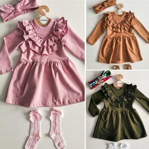 US Toddler Kid Baby Girl Solid Ruffle Long Seeve Dress Outfit Sundress Headband