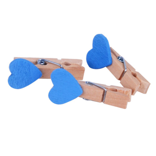 20pcs Mini Wooden Love Heart Pegs Colorful Photo Clips Craft Wedding Party Decor