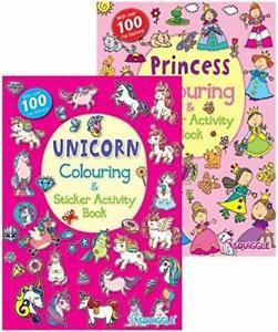 2x UNICORN PRINCESS A4 CHILDRENS COLOURING STICKER ...