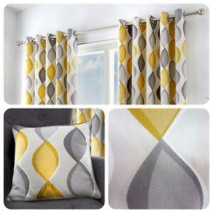 Fusion-LENNOX-Grey-amp-Yellow-100-Cotton-Ready-Made-Eyelet-Curtains-amp-Cushions