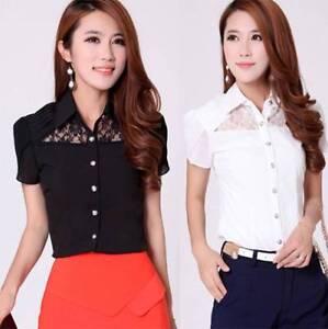 Fashion-Top-Short-sleeve-Chiffon-Lace-Blouse-Shirt-2-Col-Selection-PLUS-L-to-5XL