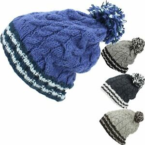 SLOUCH-BEANIE-BOBBLE-HAT-WOOL-CABLE-KNIT-FLEECE-LINED-BAGGY-WINTER-CAP