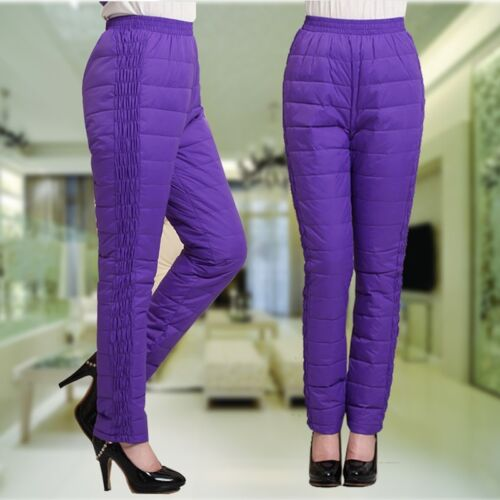 Women/'s Pants Warm Winter Thicken Trousers Casual Slim Long Comfy Padded Snow
