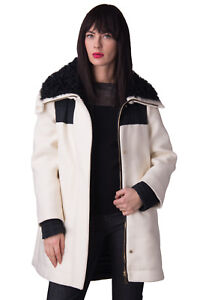 MONCLER-Down-Coat-Size-3-L-Wool-Blend-Fishtail-Back-Lamb-Fur-Collar-RRP-1499