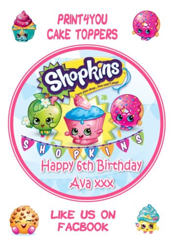 ND3 Shopkins Birthday personalised round cake topper icing