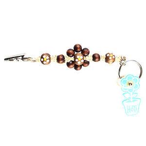 HOTI Hemp Handmade Brown Flower Power Beaded Keychain Roach Clip 420 ... b86a0f4cd1