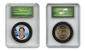 TOM-BRADY-Patriots-Colorized-JFK-Kennedy-Half-Dollar-U-S-Coin-in-Slabbed-Holder