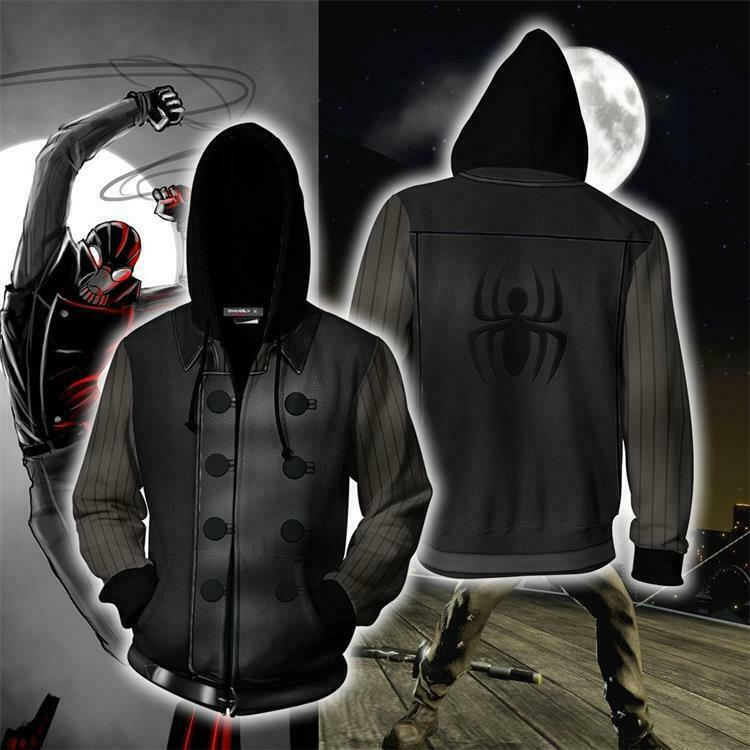 Spider-Man Noir Suit Hoodies Coat Spiderman Unisex Sweatshirt Cosplay Costume