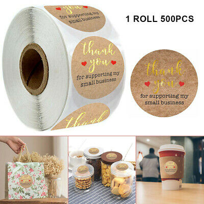 500Pcs Round Thank You For Supporting Handmade Food Gift Craft Labels Stickers#