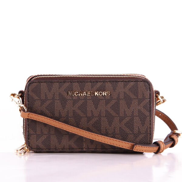 c09f56163eb5 Michael Kors Jet Set Travel MF Phone Brown acorn Crossbody Purse Msr188 for sale  online