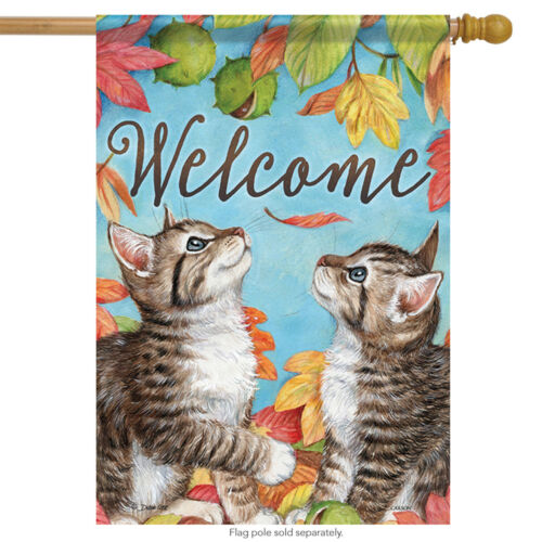 "Playful Chatons Bienvenue Fall House Drapeau chats Feuilles Automne Pets 28/"" X 40/"""