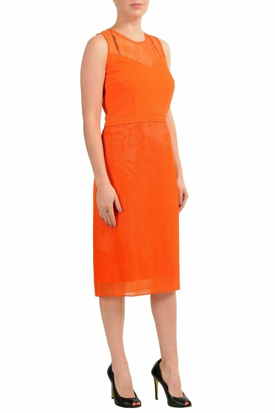 Hugo Boss     Dileka   Donna Arancione senza Maniche Vestito con Fodero Us 4 It 40 d1a6a5